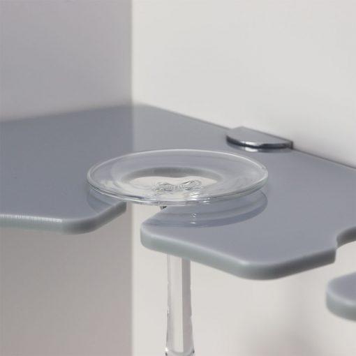 4 glass acrylic corner wine glass shelf