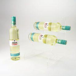minimalist 3 bottle acrylic wine rack
