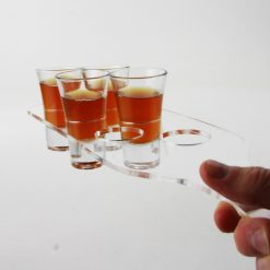 Acrylic shot glass paddle to hold 6 fluted shot glasses
