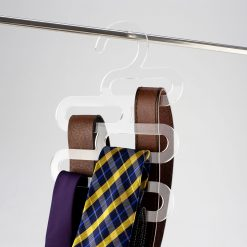 Clear Acrylic Belt and Tie Hanger with product