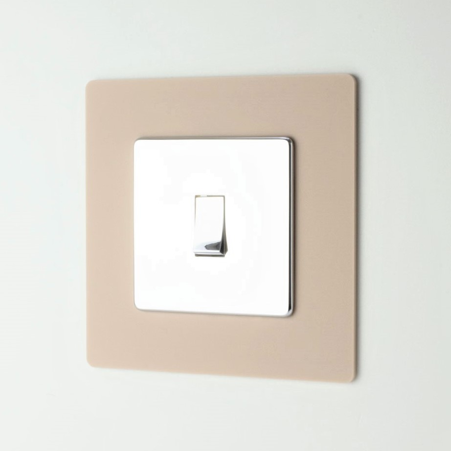 Desert Beige Acrylic Single Light Switch Surround