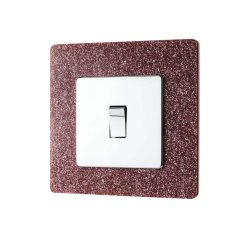 Pink Glitter Acrylic Single Printed Light Switch Surround