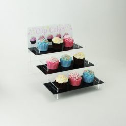Cupcake Stand with White Printed Header with Cupcakes