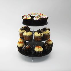 Metallic Large Round Cupcake Stand Black Acrylic