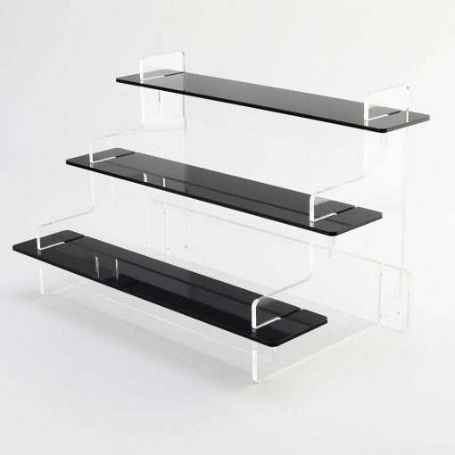 3 Tier Slimline black acrylic tiered stand no products on a white background