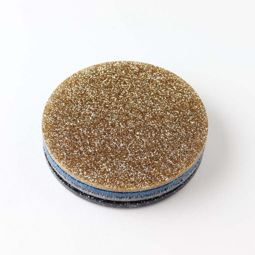 4 Circle Stack of Acrylic Glitter Coasters on a white background