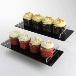 295mm Regular Tiered Display Stand Black with Cupcakes