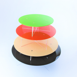Round Cake Stands stacked acrylic black orange red green