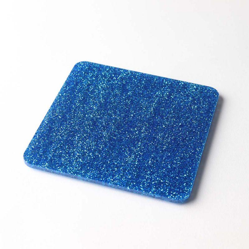 1 Square Blue Glitter Acrylic Coaster