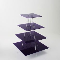 Empty 4 Tier Small Square Cupcake Stand Purple