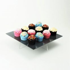 Small Square Cake Stand Black