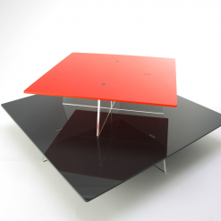 Square Cake Stands Stacked Red and Black
