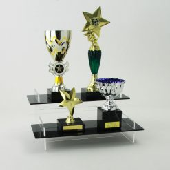 Two Tiered Display Stand Black Acrylic with Trophies