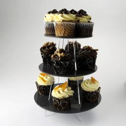 3 Tier Small Round Cupcake Stand Black Acrylic