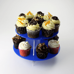2 Tier Large Round Cupcake Stand Blue