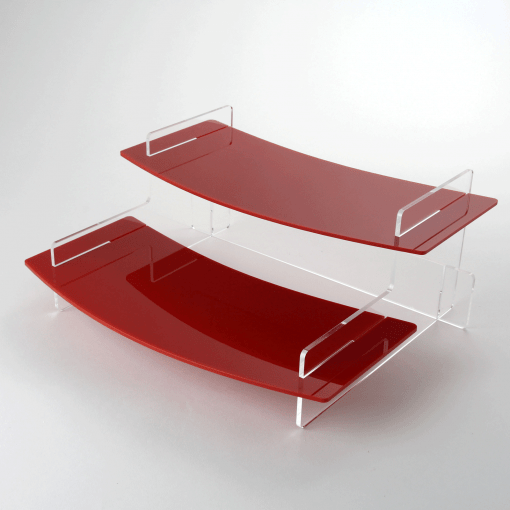 Two Tiered Display Stand Curved Edge Red Acrylic