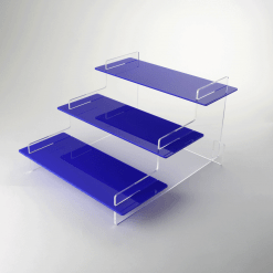 395mm Regular Three Tiered Blue Acrylic Display Stand