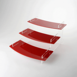 295mm Regular Curved Acrylic Red Tiered Display Stand Three Tier