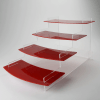 4 Tier Red Curved Regular Four Tiered Display Stand
