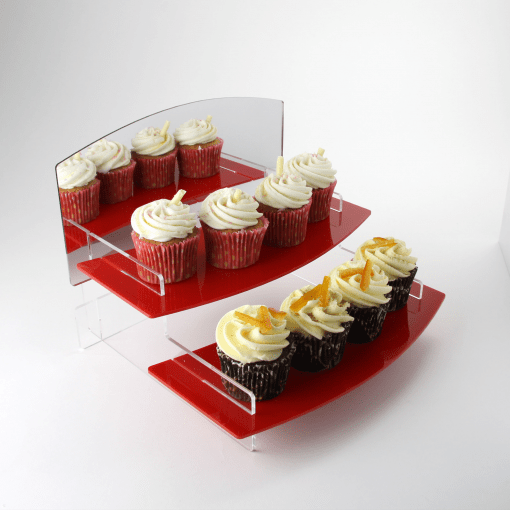 Curved Acrylic Display Stand Two Tiered Red Cupcakes with mirror header