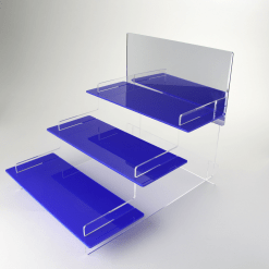 3 Tier with Mirror Header Blue Acrylic Display Stand