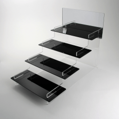 4 tier Black Acrylic Display Stand with Mirror Header