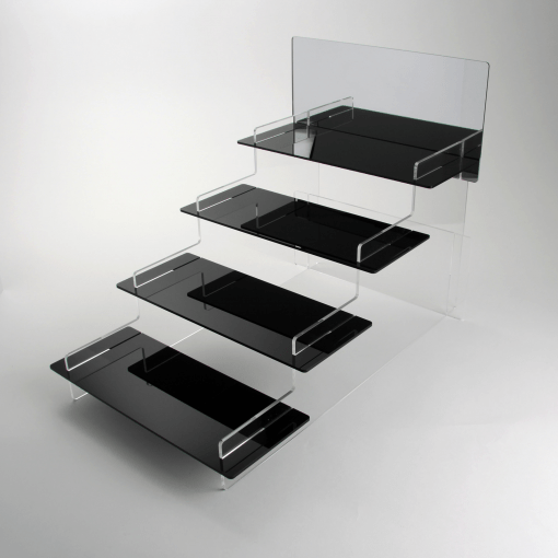 Four Tiered Black Acrylic Display Stand with Mirror Header Empty