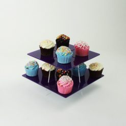 large square 2 tier cupcake stand purple with cake