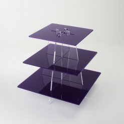 large square 3 tier cupcake stand empty purple