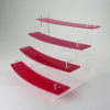 Four Tiered Curved Pink Acrylic Display Stand No Header