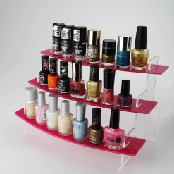 Slimline Curved Nail Varnish Display Stand Three Tiered with Products