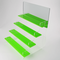 295mm Slimline Tiered Display Stand Acrylic Green Four Tiered with Mirror Header