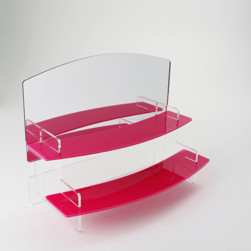 slimline two tiered pink acrylic display stand with mirror header
