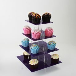 4 Tier Small Square Cupcake Stand Purple