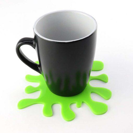 Acrylic Splat Coaster with mug green