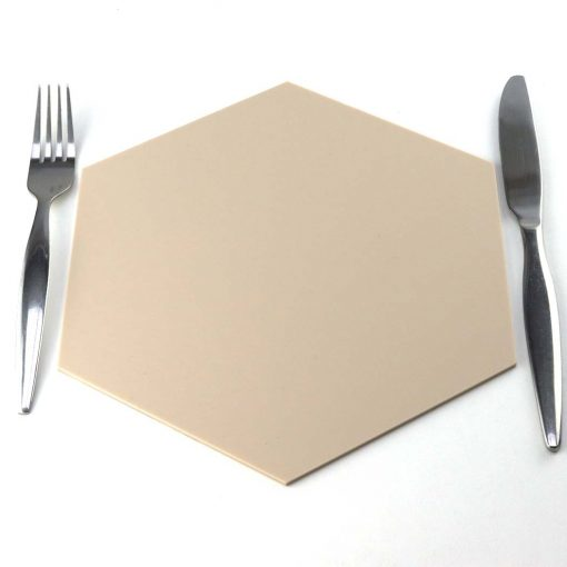 Hexagon Placemat Beige with Cutlery