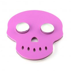 Skull Shaped Acrylic Tea Light Holder Pink with candles