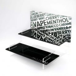 Tiered Vape Liquid Stand with a Vape Flavour Printed Mirror Header