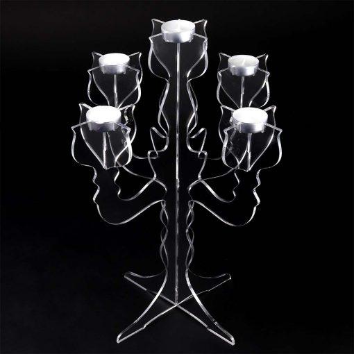 Clear Acrylic Candelabre Tea Light Holder