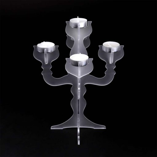 Small Frosted Acrylic Candelabra Tealight Candle Holder