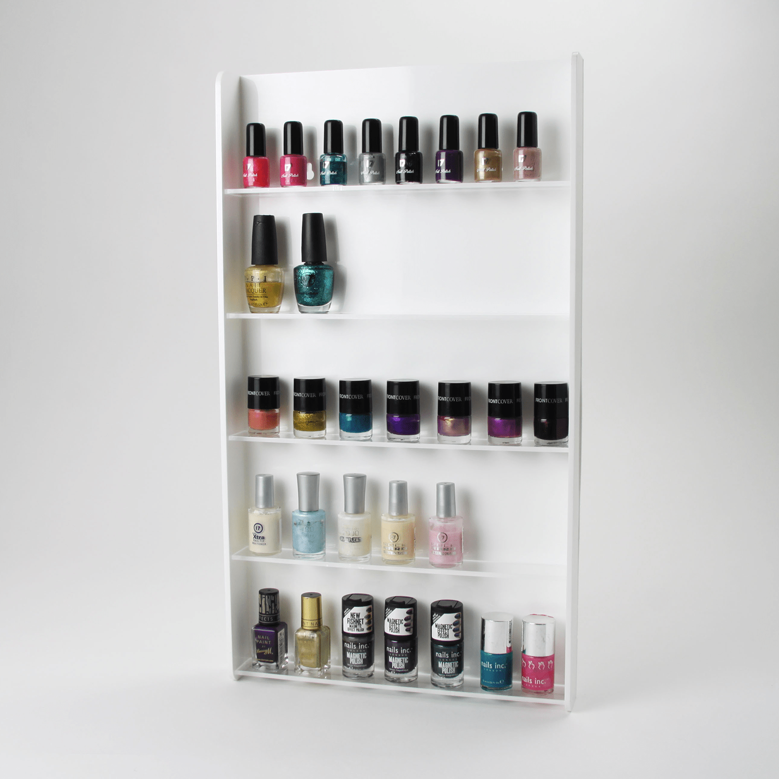 White Acrylic Wall Mounted Nail Varnish Display Stand