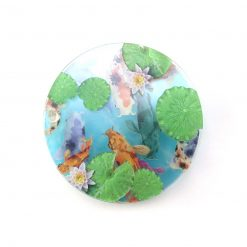 Koi Carp Fish Pond Printed Acrylic Coasters