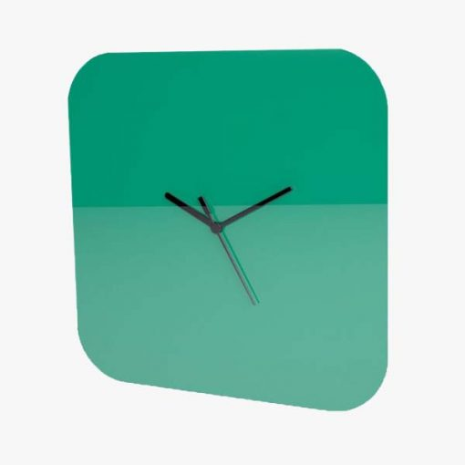 Large Square Plain Clock Green