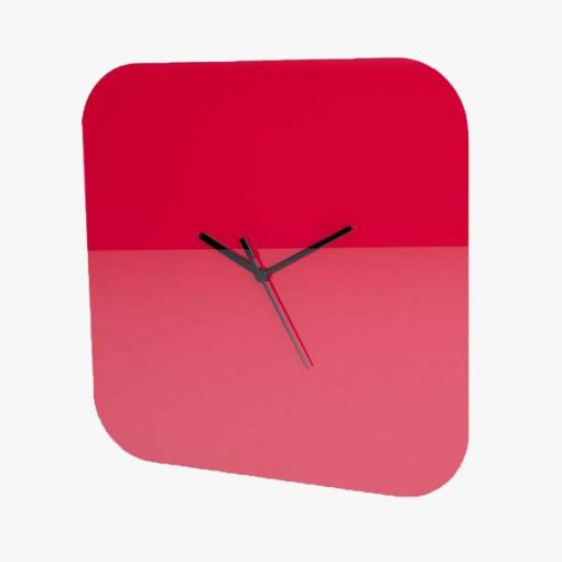 Large Square Plain Clock Red