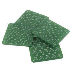 Green Christmas Coaster Set