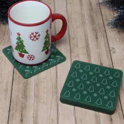Set of 4 Printed Acrylic Green Christmas Design Coasters