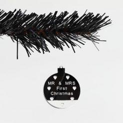 Set of 3 Acrylic Mirror Mr & Mrs Christmas Tree Decorations
