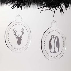 Penguin & Stag Acrylic Christmas Baubles Set on Tree