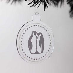 Penguins Acrylic Christmas Bauble on Tree