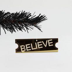 Set of 3 Acrylic Mirror Polar Express BELIEVE Ticket Christmas Tree Decorations